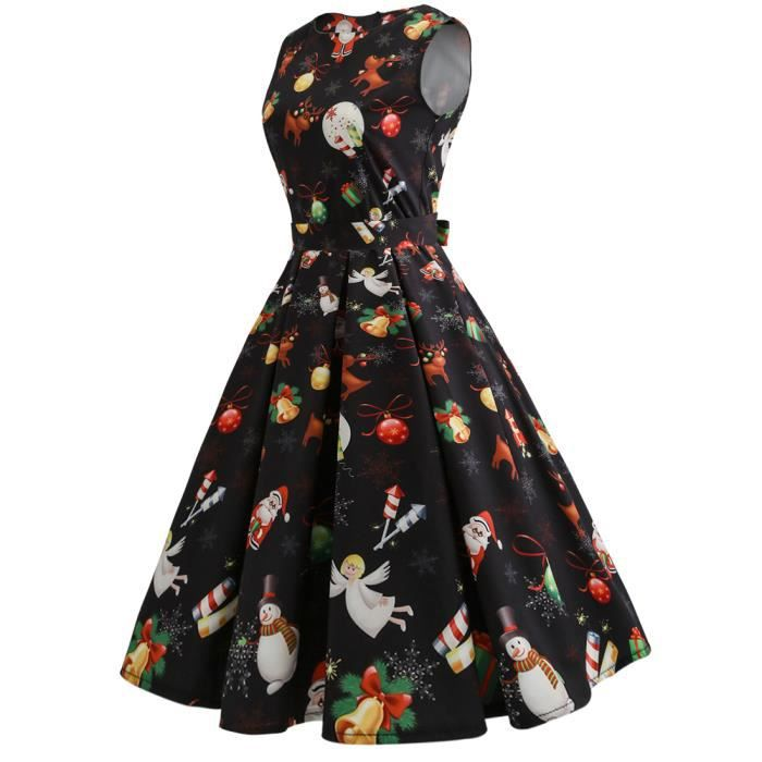 Robe femme de Noël col rond imprimé slim à Ceinture mode Noir SIMPLE FLAVOR