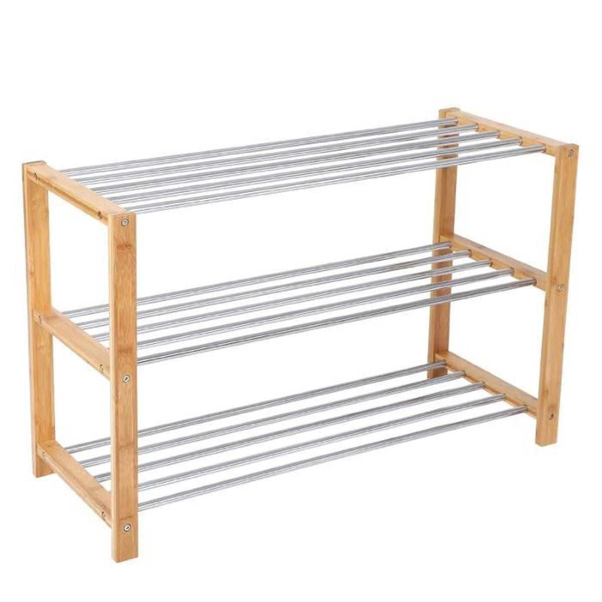 Tag re chaussures 100 bambou naturel 3 niveaux meublerangement si ge pour chausser 80 x - Etagere pour chaussure ...
