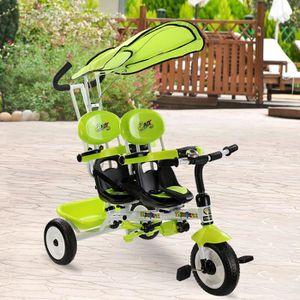 TRICYCLE Tricycles à vélo Pushcart 2 en 1enfants jumeaux de