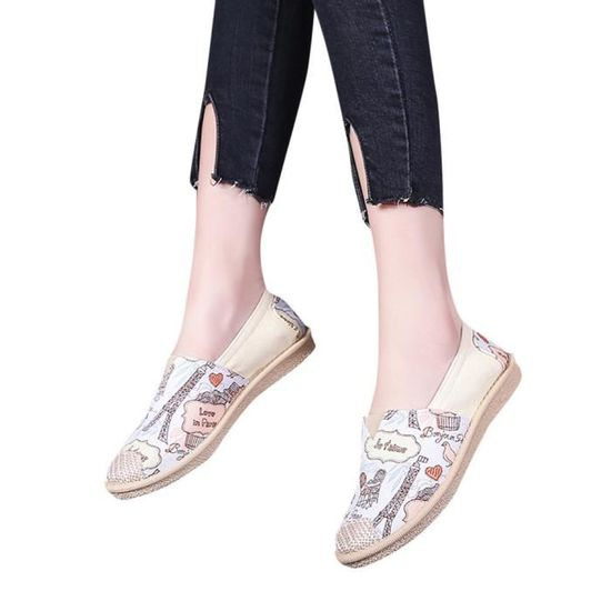 Mesdames femmes imprimé Cartoon Slip sur chaussures occasionnels chaussures plates respirant   XYY80606515BG Beige Beige Beige - Achat / Vente slip-on