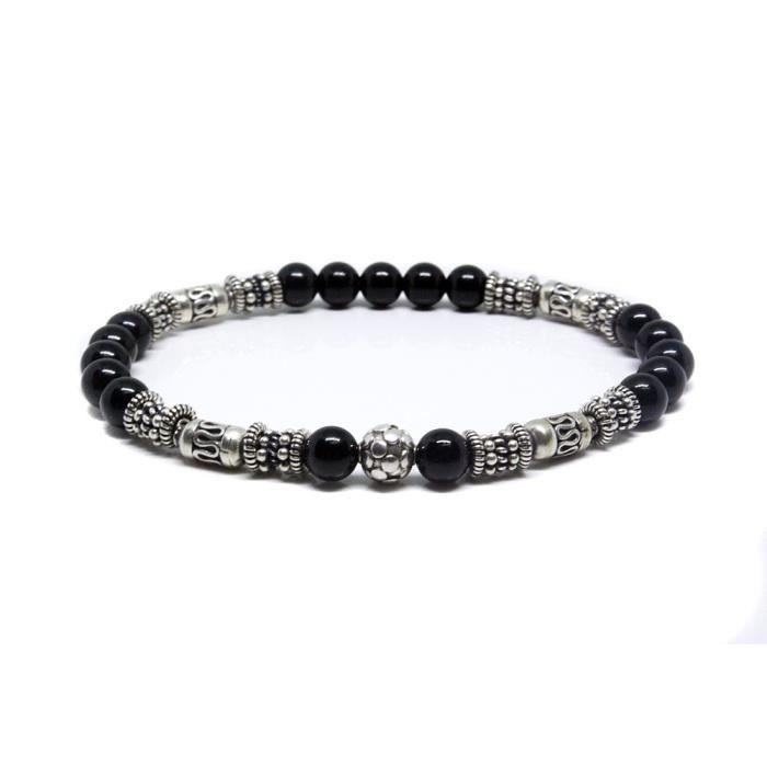 Femmes Noir Onyx et Bracelet en argent sterling, Bracelet Perles Bali, Bracelet Onyx PRPBK