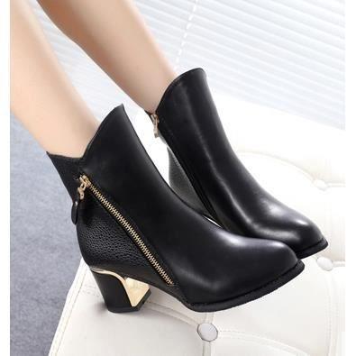 Les nouvelles bottes femmes épais avec Martin bottes Duantong bottes de chaussures pour femmes, noir 36