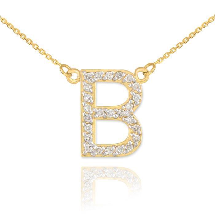Pendentif 14 ct Or 585/1000Lettre initiale B Diamantsinitial