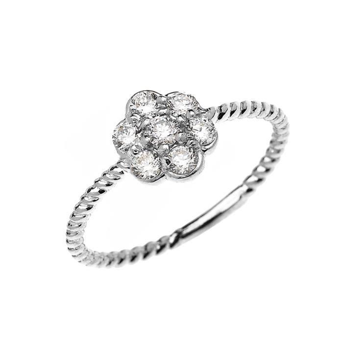 Bague Femme 14 Ct Or Blanc 7 Pierre Grappe De Fleurs Diamant Conception De Corde