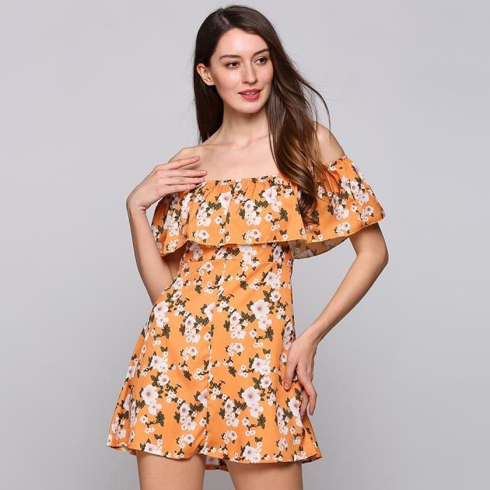 robe occasionnelle sans manches fleur impression trapèze volants