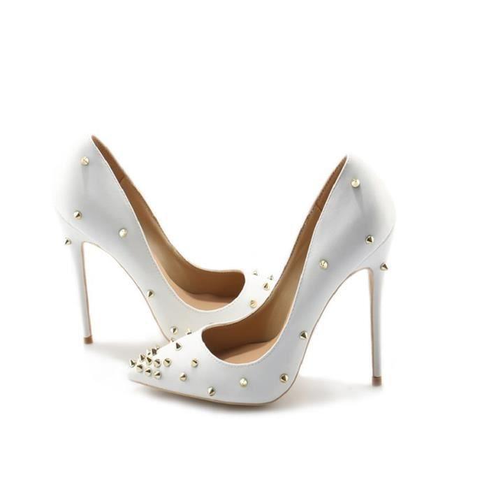 355463d38ce9a Date bout pointu rivet chaussures femmes mariage mariée talons hauts ...
