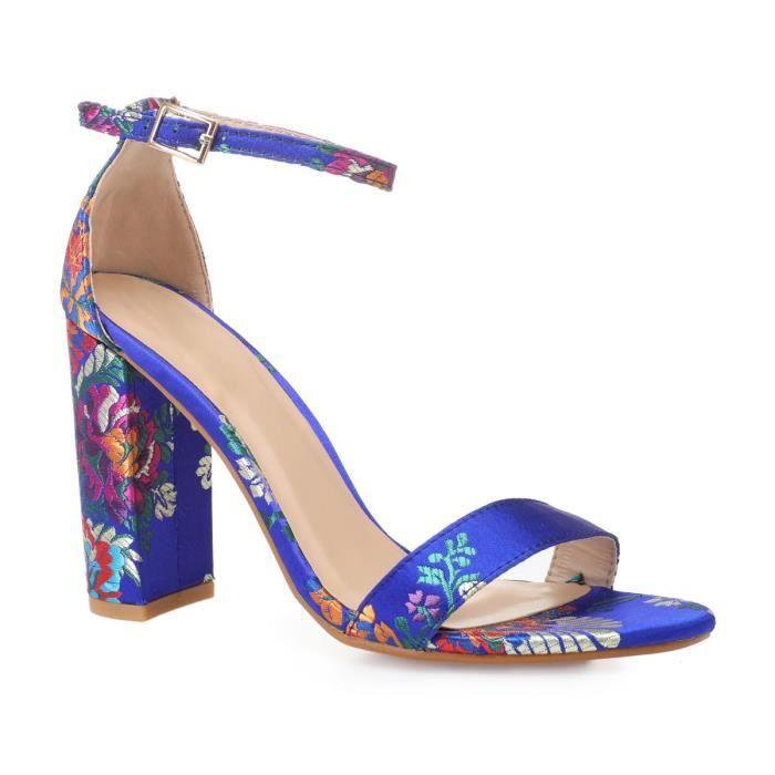 Bleues Bleu Sandales Satinées 39 Motif À Vente Floral Achat USMqzVp