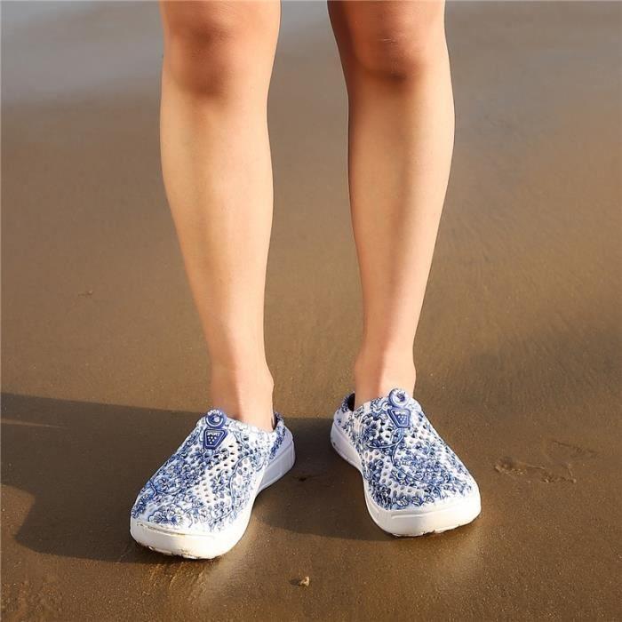Sandale Mixte style chinois trou bleu et blanc en porcelaine Chaussons Respirant Plage gris taille39