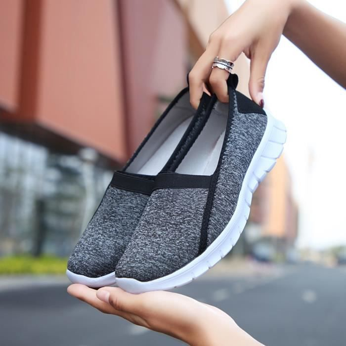 Gris Lazy Fashion Soft Femmes Sports Fonc Casual Sole Slip Shoes Breathable xz on 5626 zvzqwrH
