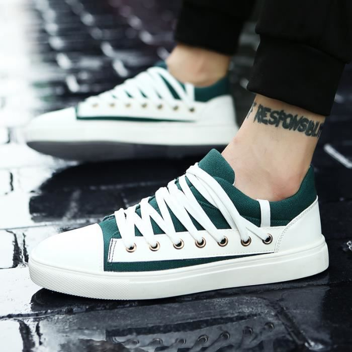 128-Vert-44 Chaussures Luxe2017 Mode Chaussure Homme respirantant L'automne Toile Basket Lacets Chaussure Décontractée Superstar iIsN81iiCU