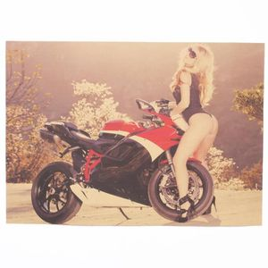 AFFICHE - POSTER Affiche en Papier Kraft Poster - Fille Sexy Moto -
