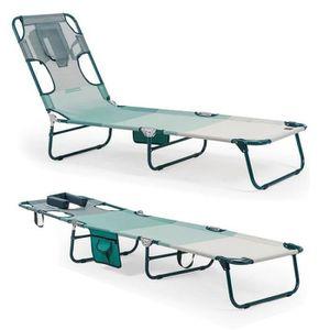 MIAMI CACTUS Transat Vert   Lit de plage   Chaise longue   Bain de soleil  spéciale lecture Piscine jardin terrasse Pliable a2ef5f062781