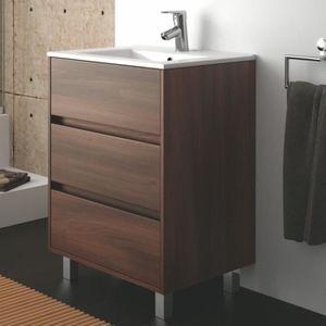 MEUBLE VASQUE - PLAN Meuble salle de bain et vasque porcelaine 60 cm...
