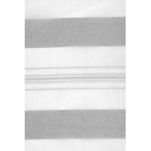 VOILAGE Voilage Blanc à Jeux de Rayures Gris 145 x 250 cm