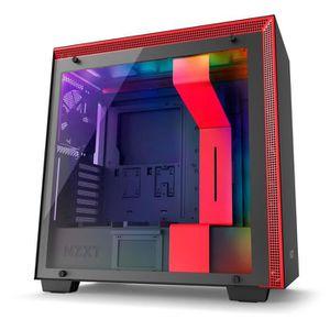 BOITIER PC  NZXT Boitier PC Moyen Tour H700i Rouge/Noir - Fenê