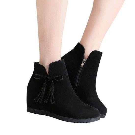 Les femmes Wedges Suede Zipper Tassel Bottines Chaussures Casual Martin Bottes bottillons  Noir Noir Noir - Achat / Vente botte