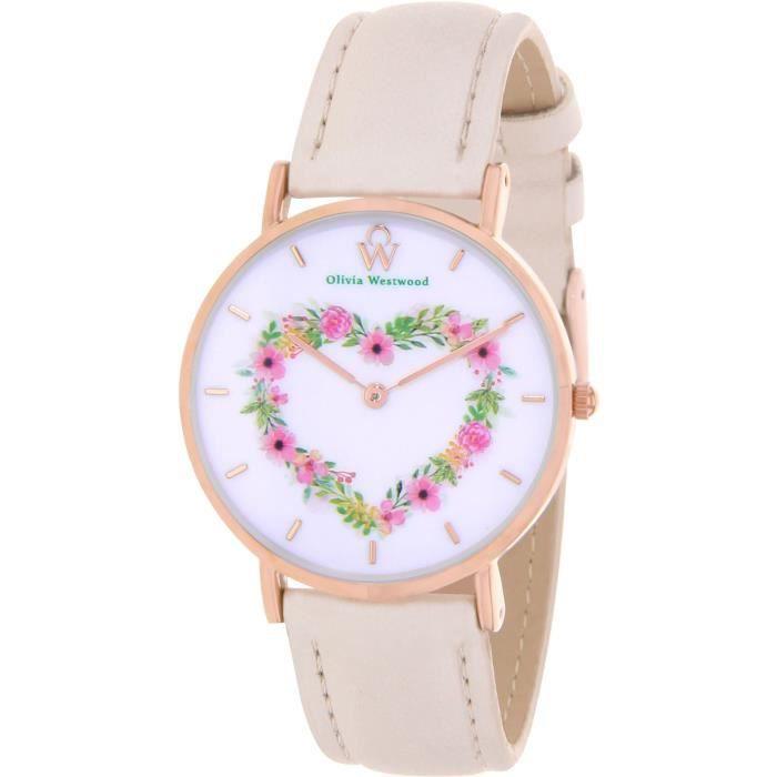 OLIVIA WESTWOOD BOW10012-814 Montre Quartz Bracelet cuir - Rose - CŒur - Femme