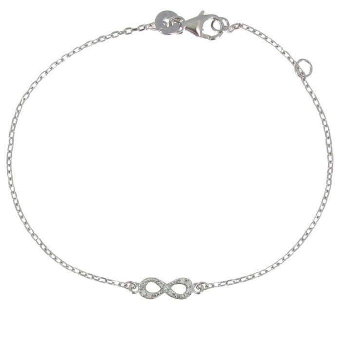 Les Poulettes Bijoux - Bracelet Argent Rhodié Mini Infini et Strass