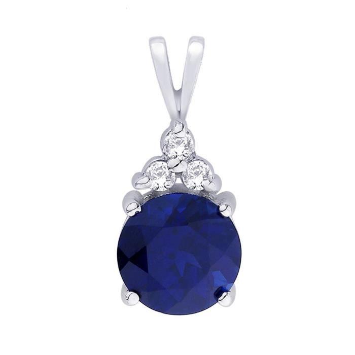 Femmes en argent sterling rhodié raffinée Classe 2,75 Carats Forme ronde bleu saphir Pendentif Sp9278 QJQLQ