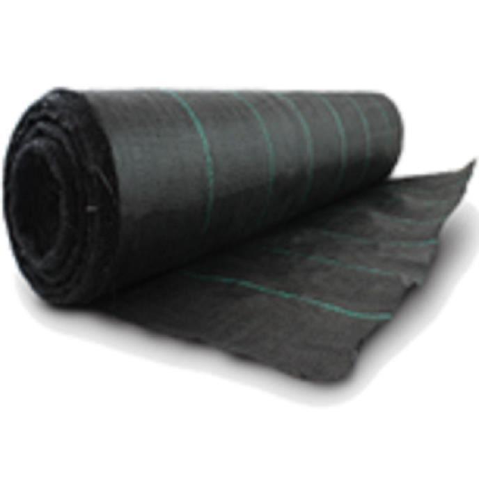 Bâche anti mauvaises herbes, robuste, 100cm x 20m, 100g/m² noir ...