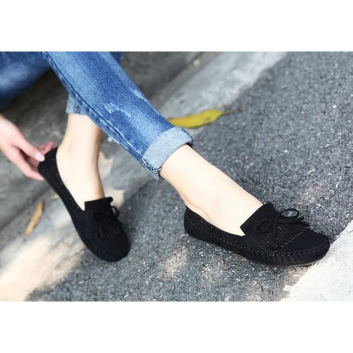 Pure Color Casual bout rond Chaussures Femmes D...