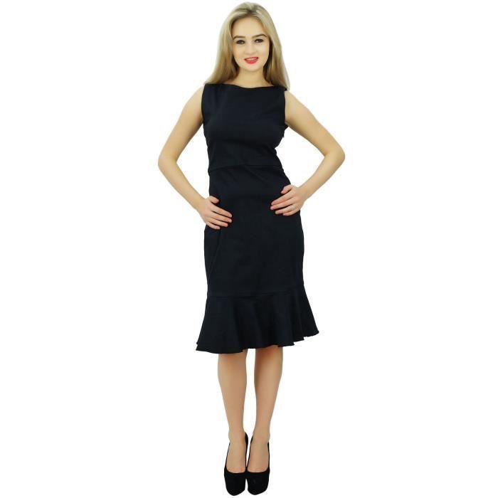 6d94d48917 Bimba Femmes Solides Manches Noir Robe Droite Longueur Du Genou Robes  Formelles, Noir
