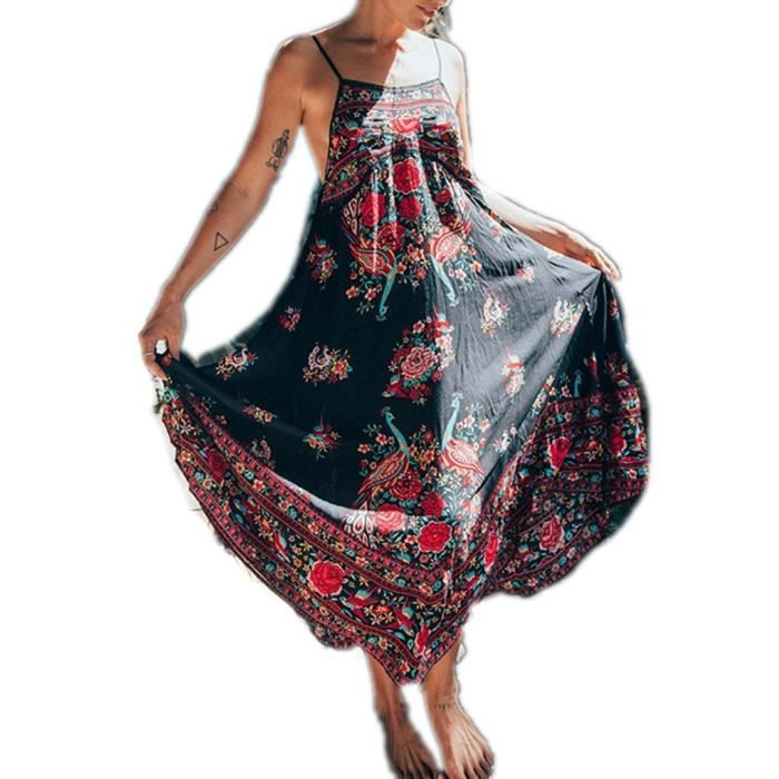 09304fd4877 Minetom Femmes Eté Vintage Bohème Style Imprimé Floral Broderie Sans  Manches Dos Nu Maxi Robe Longue Plage Fête Long Dress