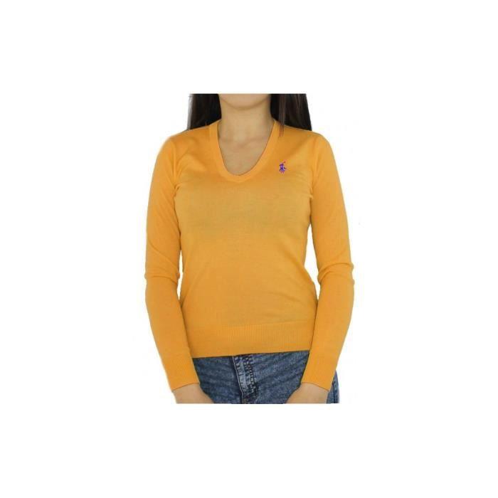 fa39c5a347 RALPH LAUREN - Pull Col V pour femme (orange - M) Orange Orange ...