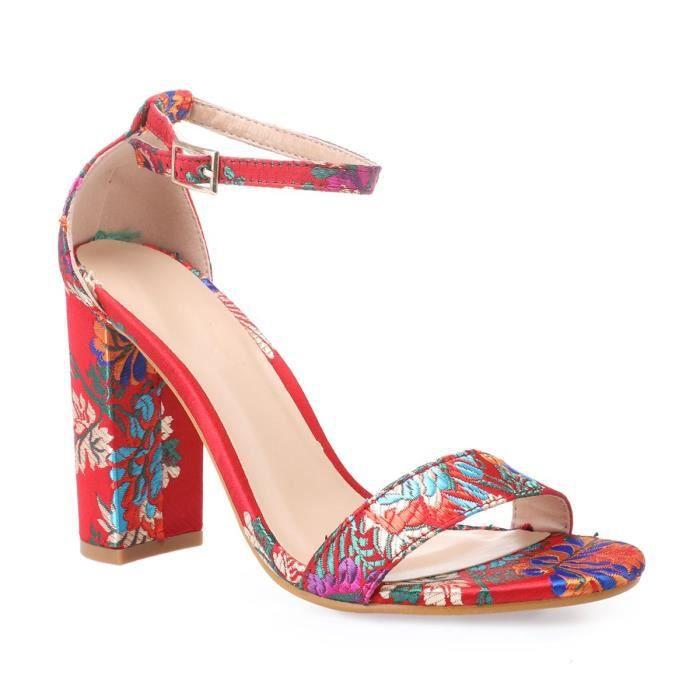 Rouge Sandales Satinées À Achat 37 Rouges Floral Motif tCxhsdoQrB