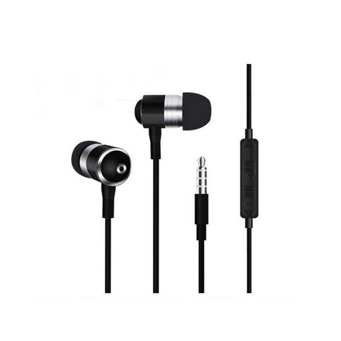 Ecouteurs Métal Pour Sony Xperia T3 Avec Micro Et Télécommande Réglage Son Kit Main Libre Intra-auriculaire Universel (noir)