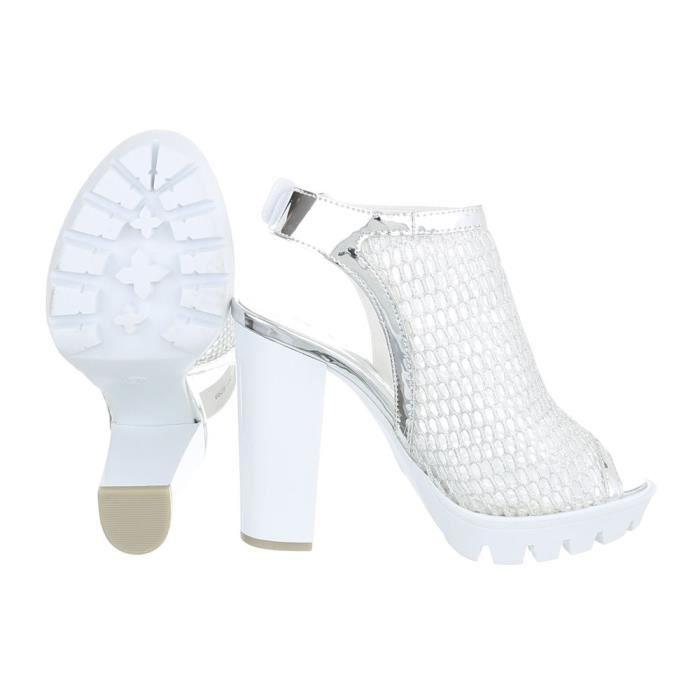 noir gris Argent argent Toe High Or Heels Chaussures Femme Plateau Escarpin Peep 41 07AwPqU