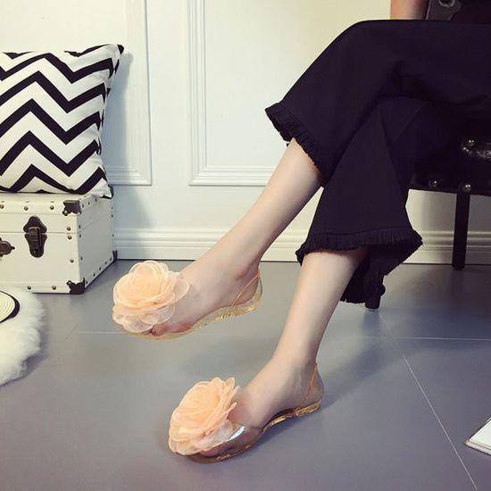 Mode Mode Mode Femmes Rose Transparent Poisson Bouche Non Slip Plat Chaussures Plage Chaussures Noir Or   LJJ80317872GD  Or - Achat / Vente slip-on fdf197