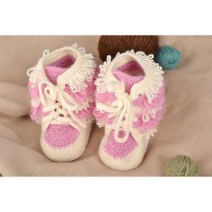 954af6dc0c514 Chaussons bébé fait main Nu-pieds enfant Chaussures bébé fille rouges tricot