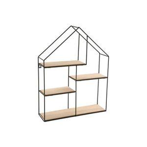 ETAGÈRE MURALE etagère en bois et métal impression maison 51x40 l