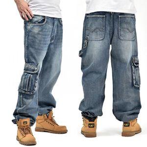 PANTALON Tomatocart Hommes Bleu Baggy Jeans Avec Poches Lat
