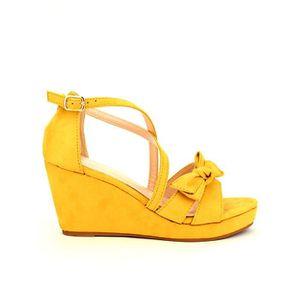 SANDALE - NU-PIEDS sandale - nu-pieds, Compensées Jaune Chaussures Fe ...