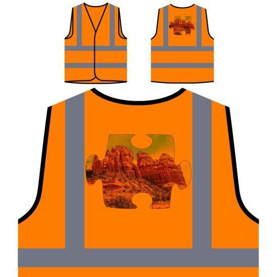 Protection Orange puzzle Red De Visibilité Haute Personn Nouveau À Image Personnalisée Hills Veste Aa5qfwq