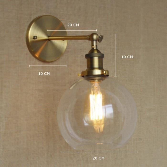 Merveilleux Applique Murale Vintage Industrielle Lampe Lampadaire Plafonnier LED E27  Boule En Verre Chambre, Salon, Couloiru2026