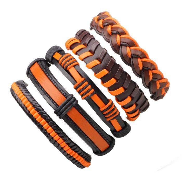 nouvelle sélection design intemporel beau look 5 PCS Bracelets Cuir pour Homme Femme Tressé Corde Bracelet ...