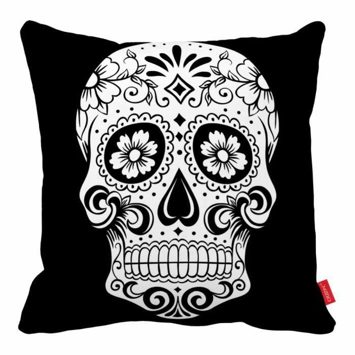 Housse de coussin fleur imprimer mexicaine de cr ne de sucre art home d cor achat vente - Decoration mexicaine a imprimer ...