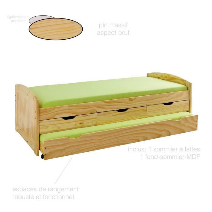lit gigogne bois massif achat vente lit gigogne bois. Black Bedroom Furniture Sets. Home Design Ideas