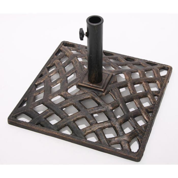 Pied de parasol, fonte,50x50x35cm, bronze.   Achat / Vente dalle