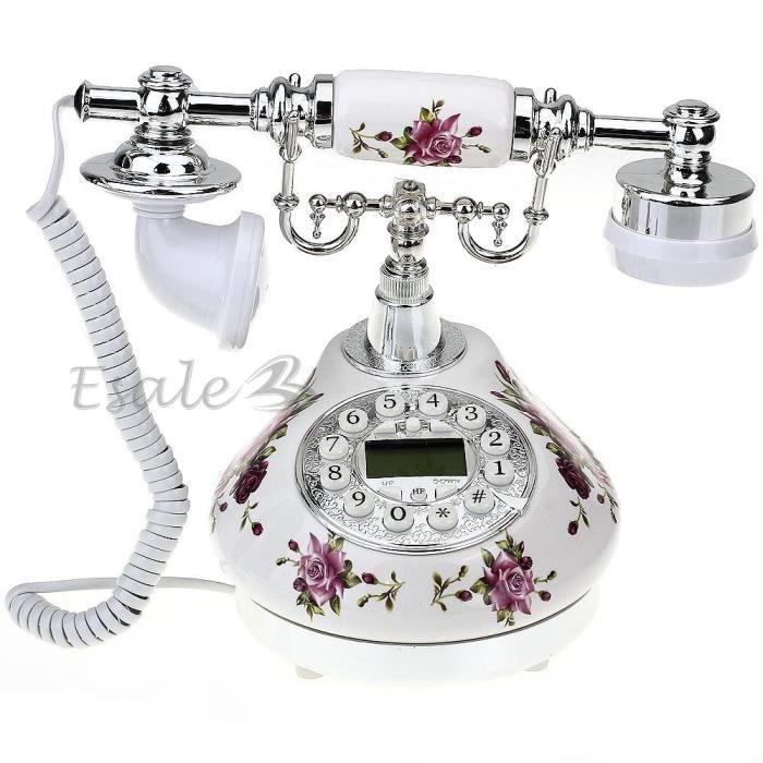 Téléphone Fixe Fil Résine Rétro FLEUR avec Combiné Répondeur Décor pour  Maison b6518adad055