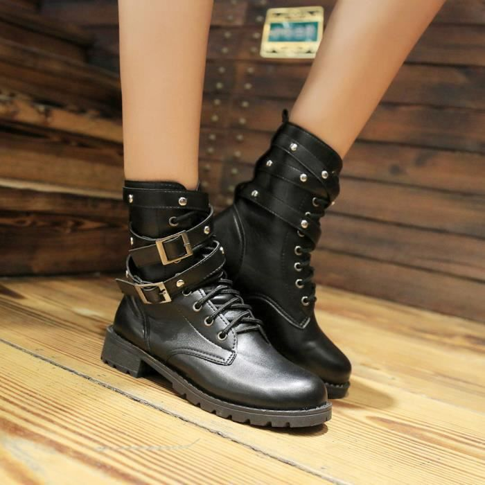 Femme Molles Suede Chaussures Cheville Lmh70922554 Cuir Bottes Martin Lacet Plate Femmes Dames RBY1q7g