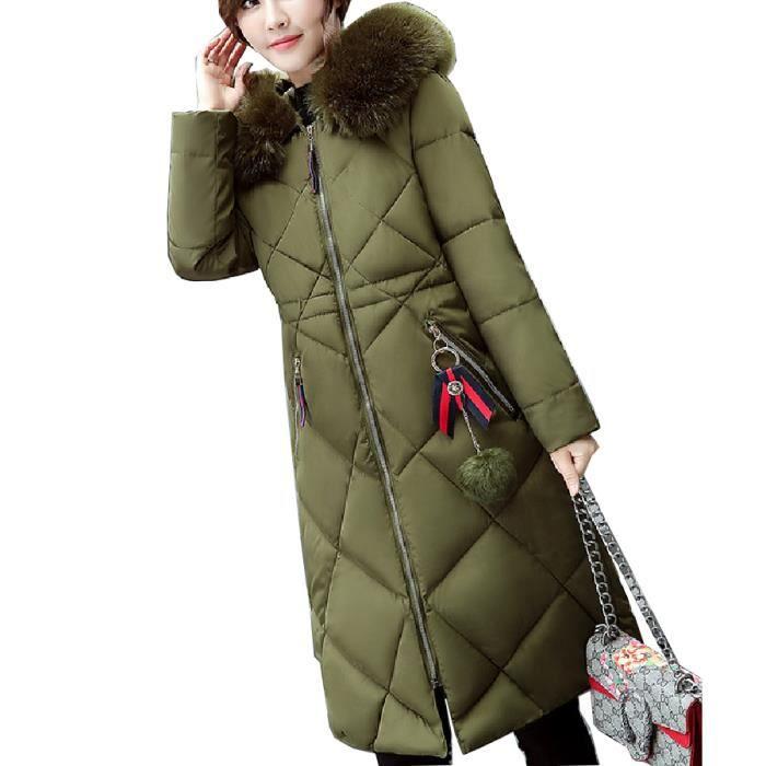 Coton noir gris Chaud Capuche Avec Rose Flavor Simple Épaisse En vert Femme Mi longue Mode Doudoune pX6IOw6