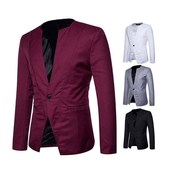 2018 costume veste homme mariage col rond blazer un bouton slim fit pour f te vin rouge vin. Black Bedroom Furniture Sets. Home Design Ideas