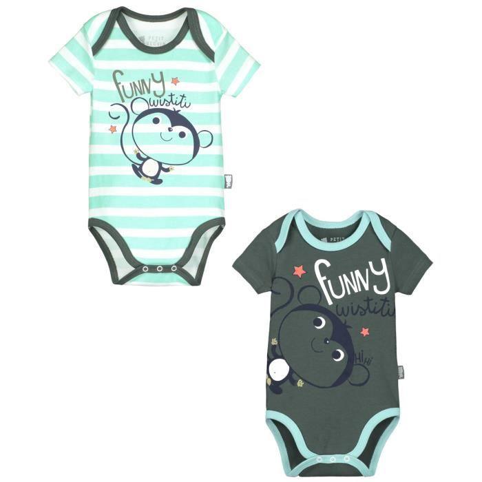 Lot de 2 bodies manches courtes bébé garçon Funny Wistiti - Taille - 24 mois (92 cm)