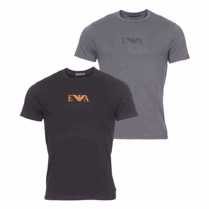 De Tee Rond Coton Gris Noir Lot Stretch Et Col Armani 2 Shirts Emporio En Anthracite xordCBeW