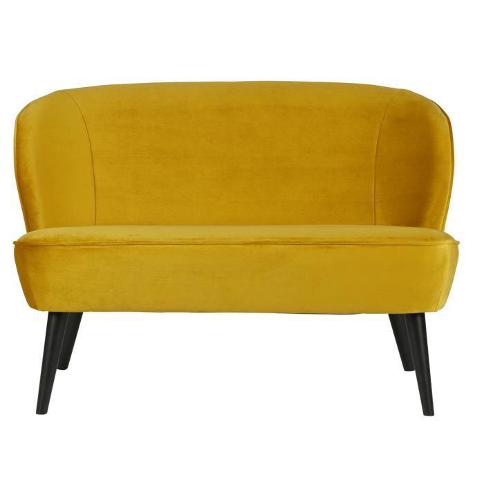 canap sofa divan petit canap velours ocre en polyester dim h73 - Canape Petit