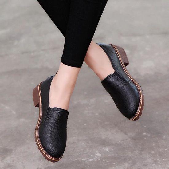 Mode En Femme Bottes Cuir Pour Libaib Dames noir Casual Plat Chaussures Court Cheville qWvvwaYtT